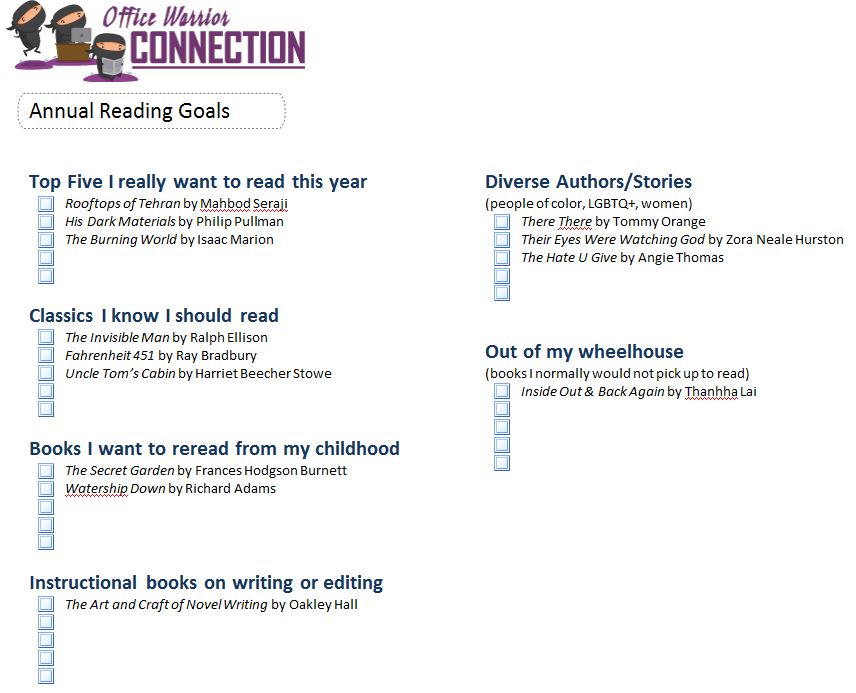 Create an electronic bullet journal and track annual reading goals